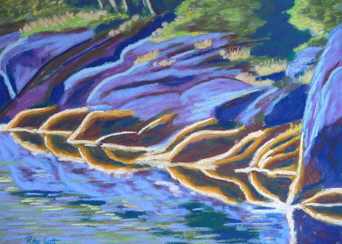 Seaweed Greeting Card featuring the pastel Low Tide On Cross Island by Rae Smith