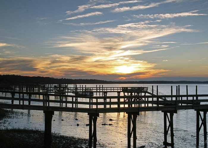 Sunset Greeting Card featuring the photograph Low Tide by Phill Doherty