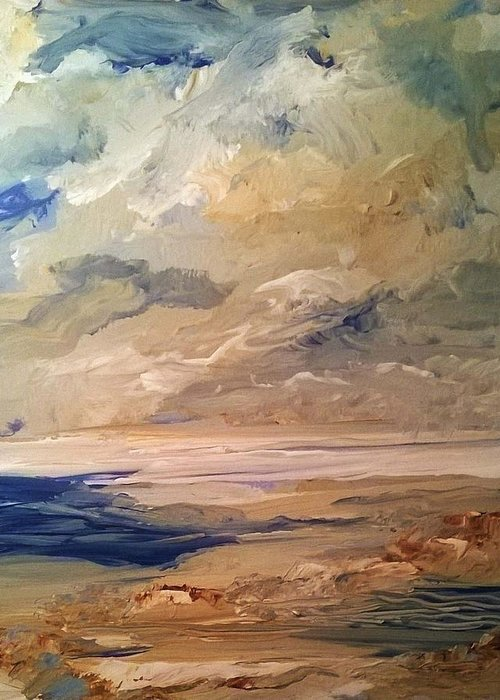 Ocean Greeting Card featuring the painting Low Tide by PJ McNally