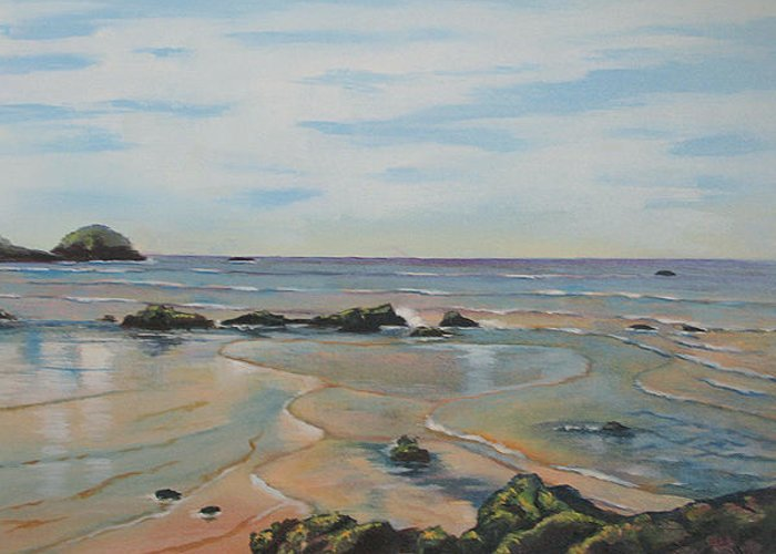Seascape Greeting Card featuring the painting Low Tide-shelly Beach by Murray McLeod