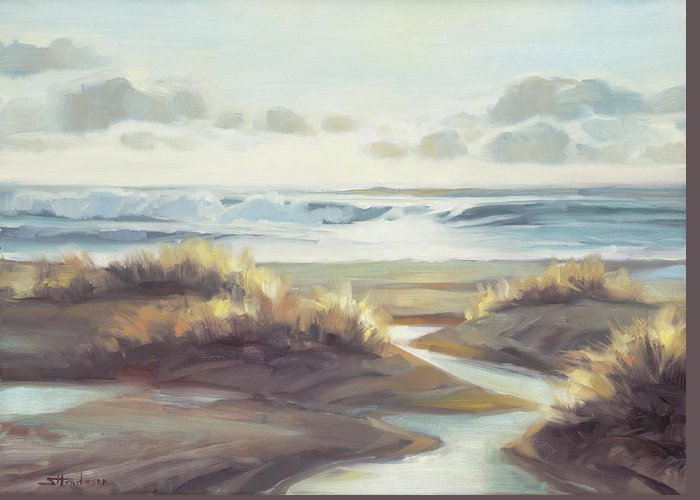 Ocean Greeting Card featuring the painting Low Tide by Steve Henderson