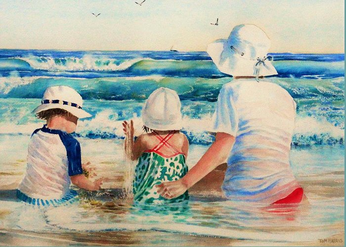 Beach Greeting Card featuring the painting Low Tide by Tom Harris