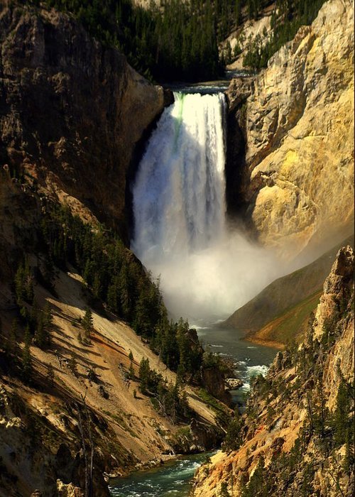 Yellowstone National Park Greeting Card featuring the photograph Lower Falls 2 by Marty Koch
