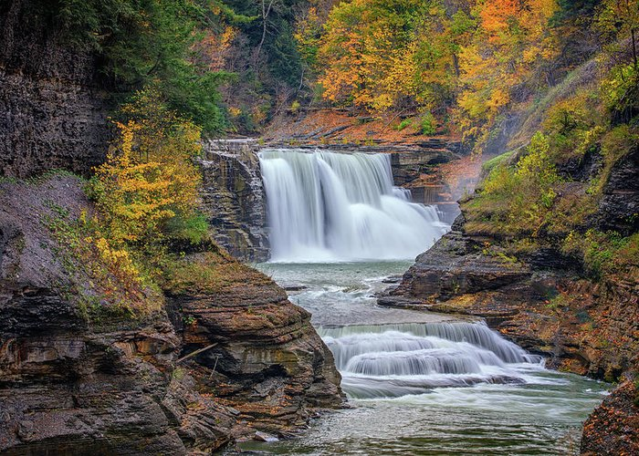 Autumn Greeting Card featuring the photograph Lower Falls In Autumn by Rick Berk