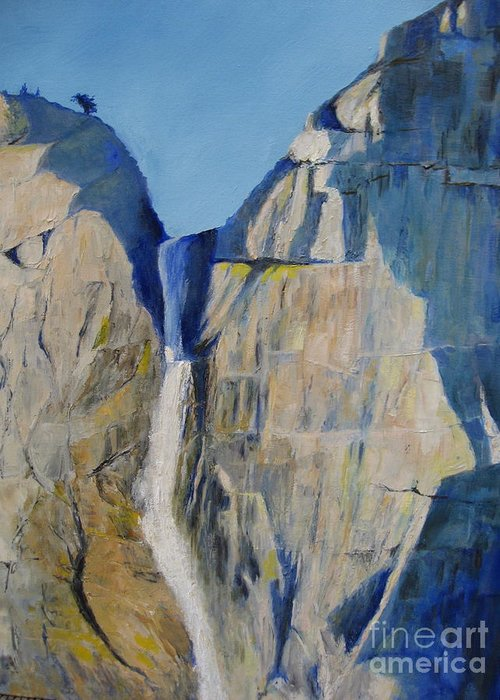 Waterfall Greeting Card featuring the painting Lower Falls, Yosemite by Jackie Carroll