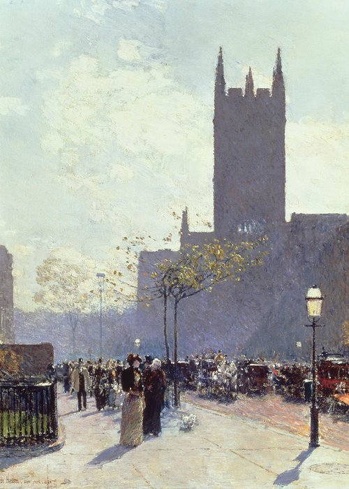 Lower Fifth Avenue Greeting Card featuring the painting Lower Fifth Avenue by Childe Hassam