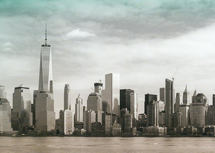 Jersey City Greeting Card featuring the photograph Lower Manhattan Panoramic Skyline by Erin Cadigan