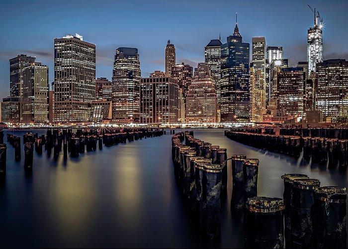 America Greeting Card featuring the photograph Lower Manhattan Skyline by Eduard Moldoveanu