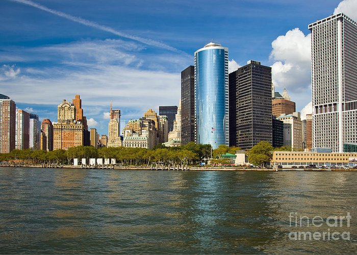 New York Greeting Card featuring the photograph Lower Manhatten Skyline by Fred Lassmann