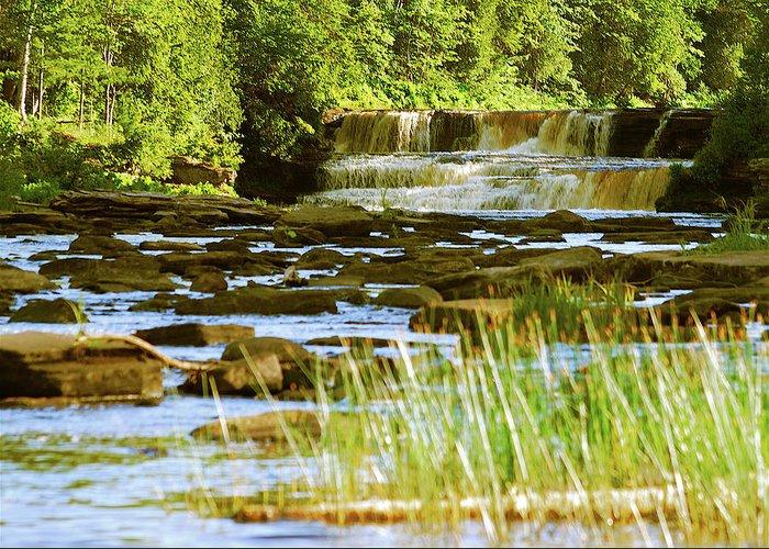 Tahquamenon Greeting Card featuring the photograph Lower Tahquamenon Falls 6128 by Michael Peychich