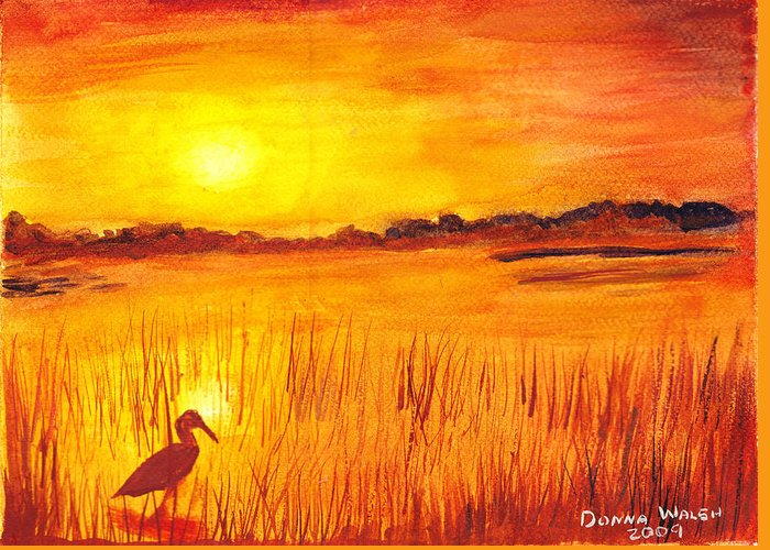 Loxahatchee Sunrise Greeting Card featuring the painting Loxahatchee Sunrise by Donna Walsh