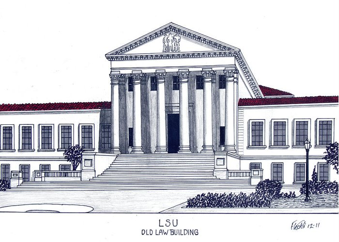 College Buildings Drawings Greeting Card featuring the drawing Lsu Old Law Building by Frederic Kohli