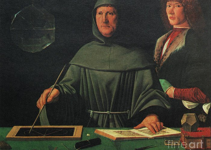 History Greeting Card featuring the photograph Luca Pacioli, Franciscan Friar by Science Source