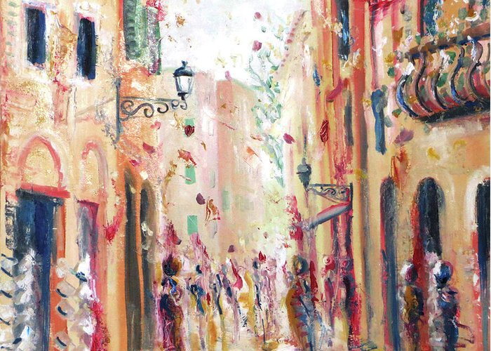 Italy Greeting Card featuring the painting Lucca Street by Martin Packford