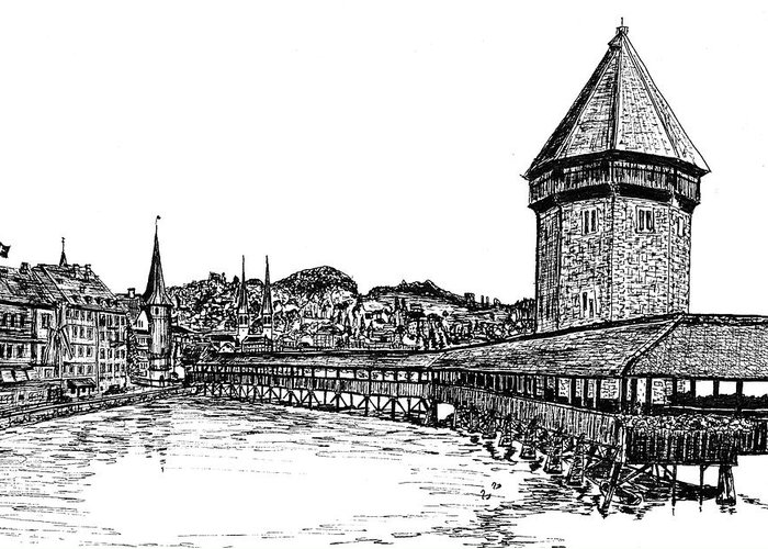 Lucerne Greeting Card featuring the drawing Lucerne by Frank SantAgata