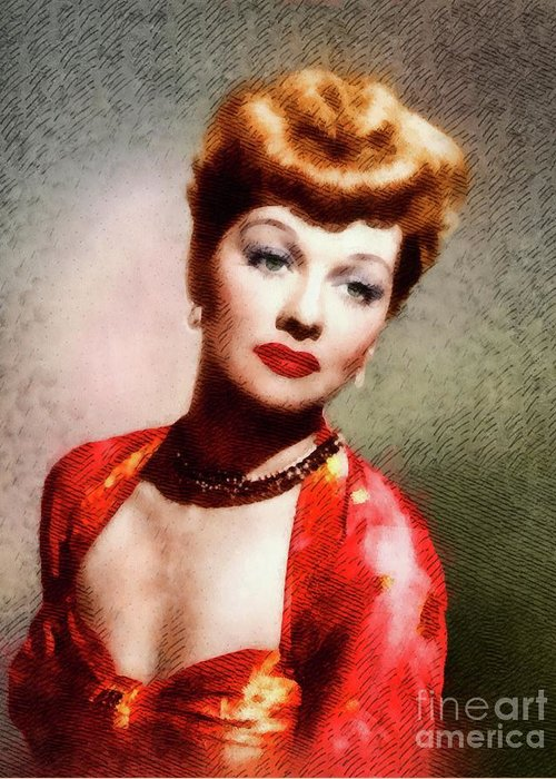 Lucy Greeting Card featuring the painting Lucille Ball, Vintage Actress by John Springfield