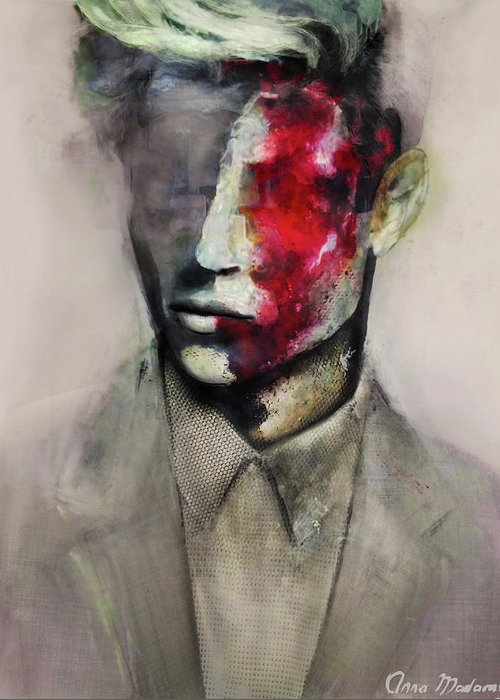 Abstract Surreal Portrait Painting Man Fashion Illustration Greeting Card featuring the painting Lucky by Anna Madarasz
