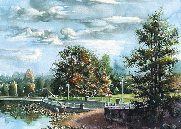 Landscape Greeting Card featuring the painting Lucky Day Rocky Point Park by Dumitru Barliga