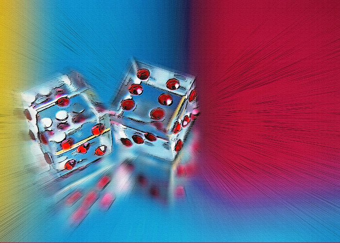 Dice; Colorful; Mirrored; Luck; Lucky; Roll; Rolling; Gamble; Fate; Chance; Fortune; Risk; Seven; Square; Two; Numbers; Knick Knacks; Art; Sculpture; Colors; Reflection; Reflected; Double; Game; Play; Playing; Poster Art; Posterized; Textures; Shapes; Digital Art; Crystal Greeting Card featuring the photograph Lucky Dice by Steve Ohlsen