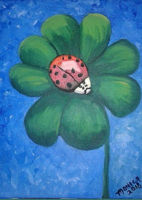 Ladybug Greeting Card featuring the painting Lucky Ladybug On 4-leaf Clover by Monica Resinger