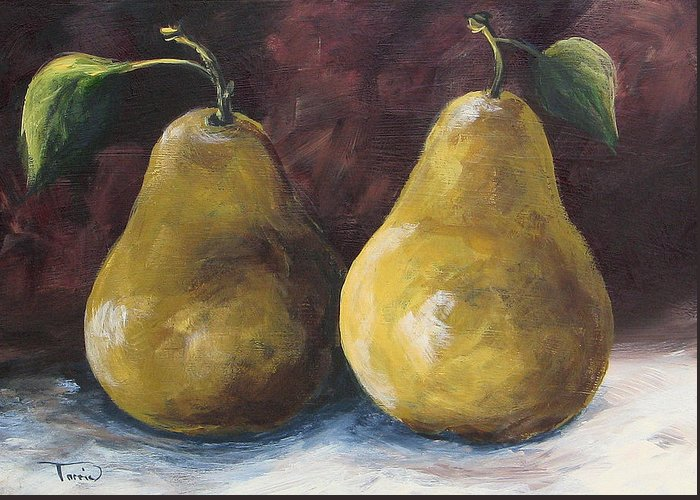 Pear Greeting Card featuring the painting Lucky Pears by Torrie Smiley