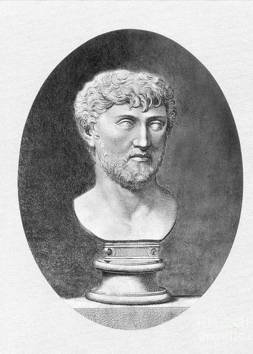 1st Century B.c. Greeting Card featuring the photograph Lucretius (96 B.c.?-55 B.c.) by Granger