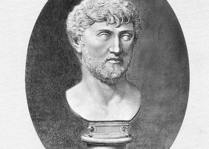1st Century B.c. Greeting Card featuring the photograph Lucretius (96 B.c.?-55 B.c.) by Granger