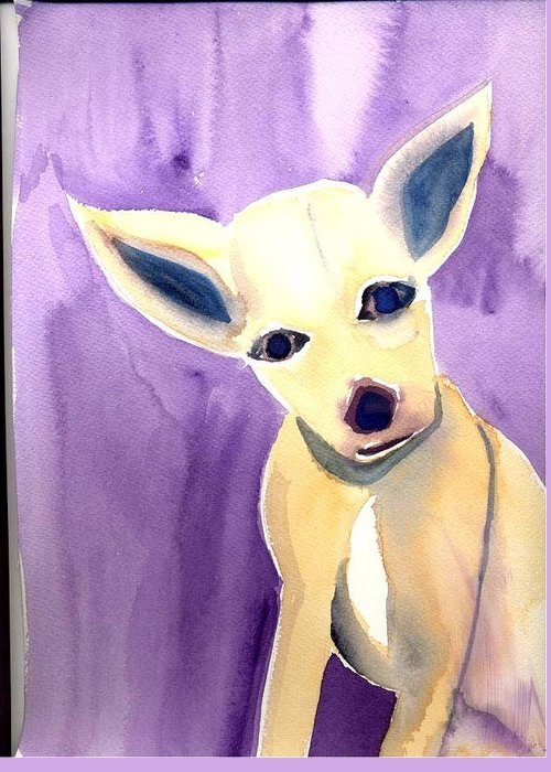 Chihuahua Greeting Card featuring the painting Lucy by Janet Doggett