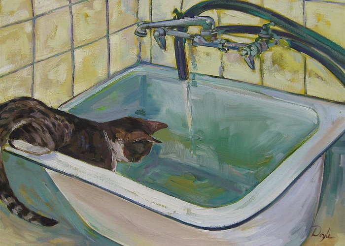 Cats Greeting Card featuring the painting Lucy Loves Water by Karen Doyle