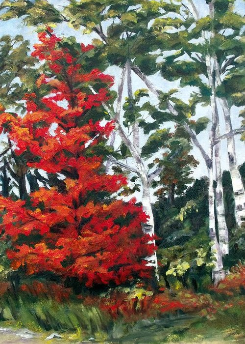 Red Tree Greeting Card featuring the painting Lucy's Red Tree by Diane Daigle