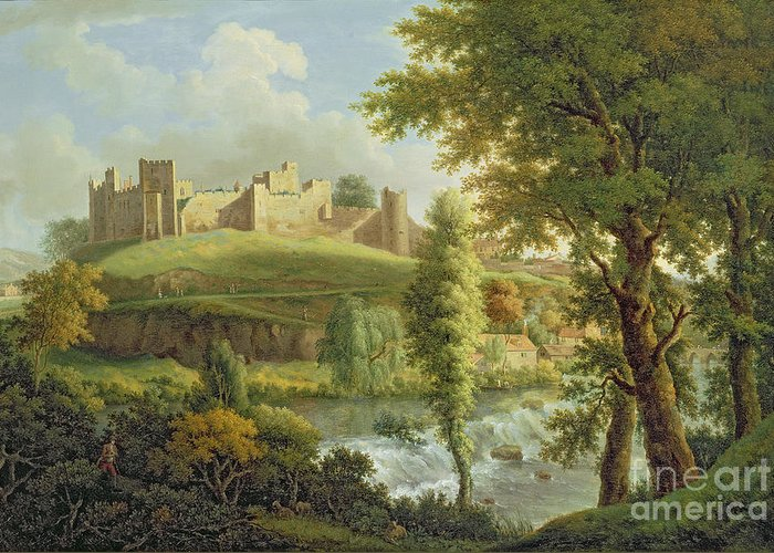 Ludlow Greeting Card featuring the painting Ludlow Castle With Dinham Weir by Samuel Scott