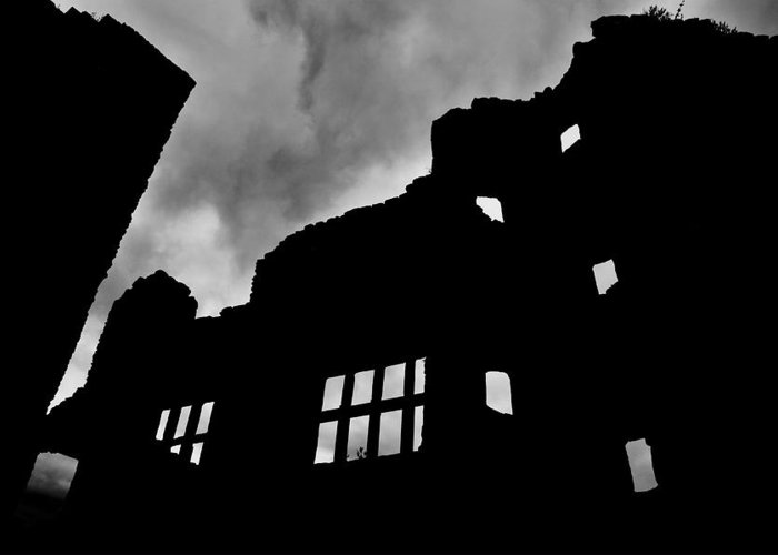 Castle Greeting Card featuring the photograph Ludlow Storm Threatening Skies Over The Ruins Of A Castle Spooky Halloween by Andy Smy