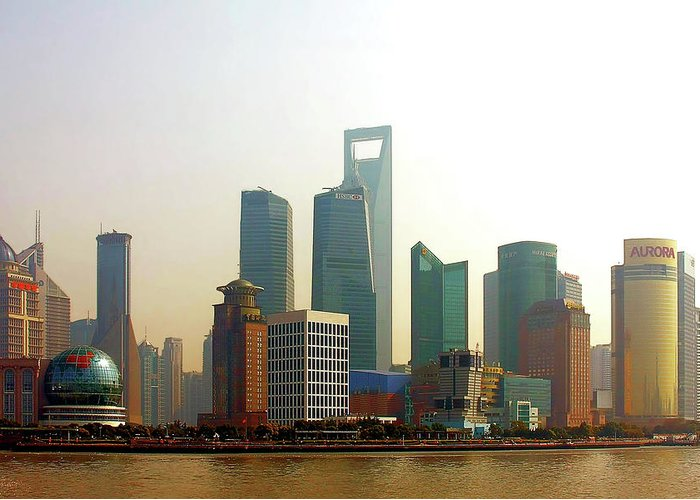 China Greeting Card featuring the photograph Lujiazui - Pudong Shanghai by Christine Till