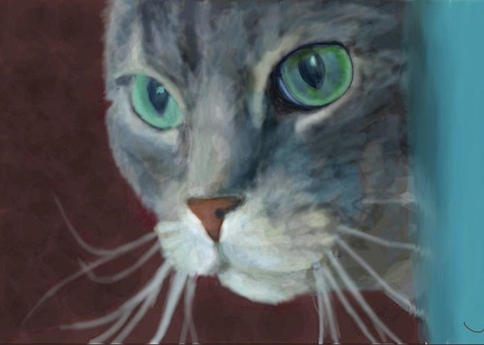 Cat Greeting Card featuring the painting Lullabella by Jennifer Hickey
