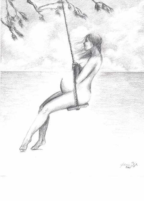 Pregnant Woman On Swing Greeting Card featuring the drawing Lullaby by Julianna Ziegler