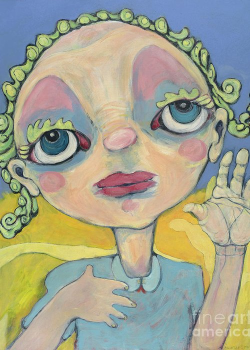Blue Greeting Card featuring the painting Lulu by Michelle Spiziri