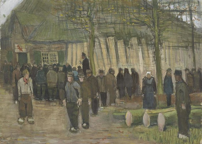 Man Greeting Card featuring the painting Lumber Sale Nuenen January 1884 Vincent Van Gogh 1853 1890 by Artistic Panda