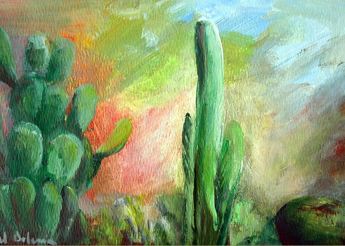 Floral Painting Greeting Card featuring the painting Lumiere De Desert by Muriel Dolemieux