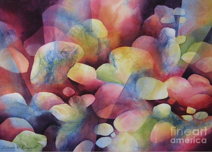 Abstract Greeting Card featuring the painting Luminosity by Deborah Ronglien