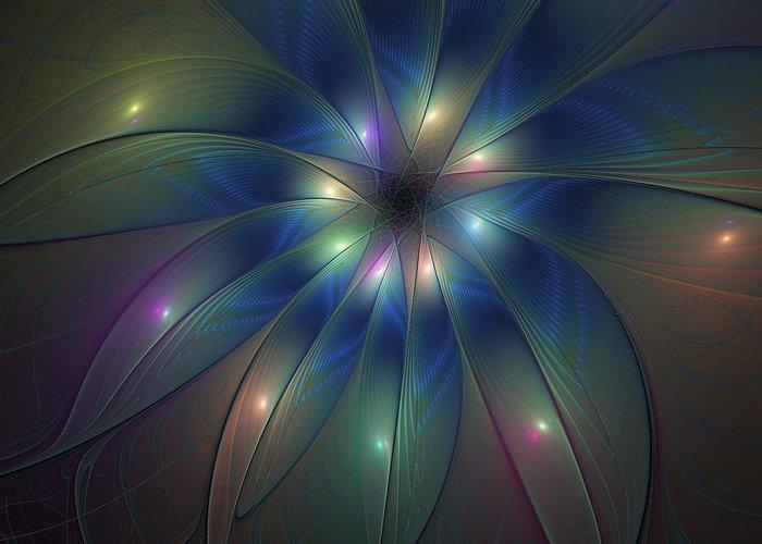 Abstract Greeting Card featuring the digital art Luminous Fractal Art by Gabiw Art