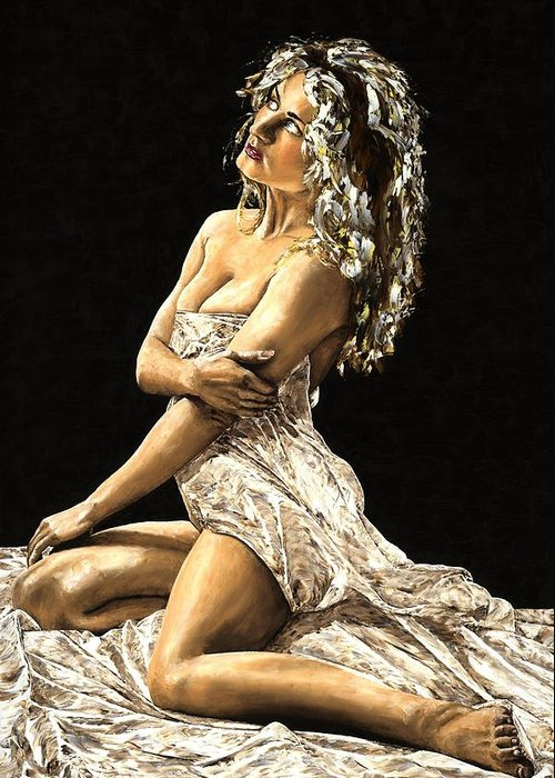 Nude Greeting Card featuring the painting Luminous by Richard Young