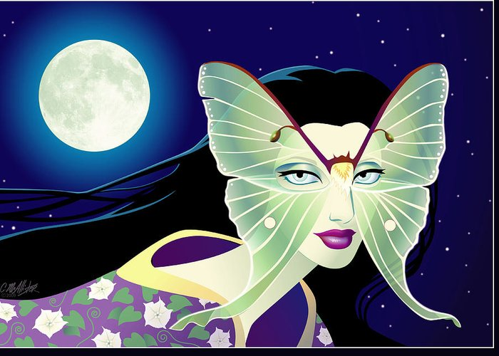 Butterfly Greeting Card featuring the digital art Luna by Cristina McAllister