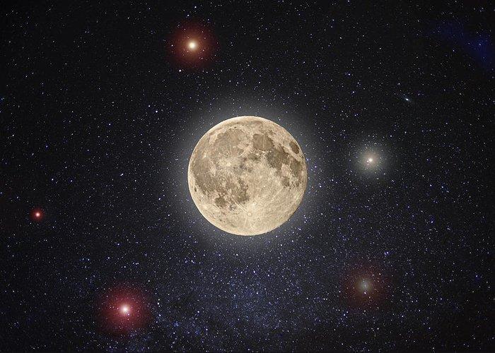 Moon Digital Art Greeting Cards
