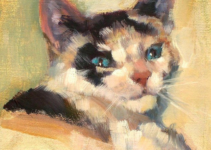 Cat Greeting Card featuring the painting Luna by Merle Keller