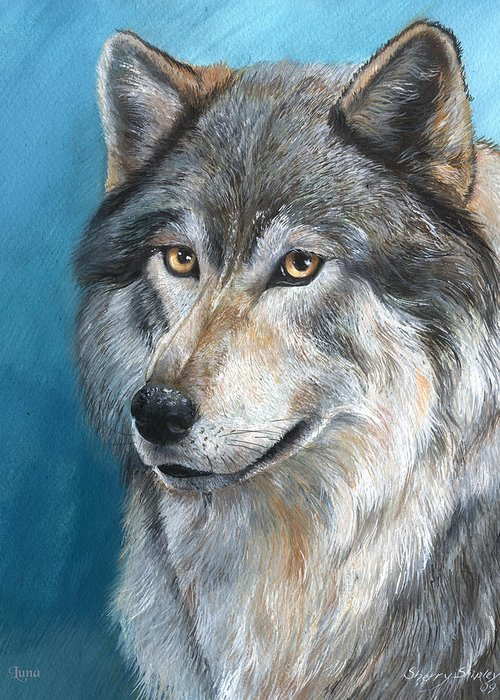 Wolf Greeting Card featuring the painting Luna by Sherry Shipley