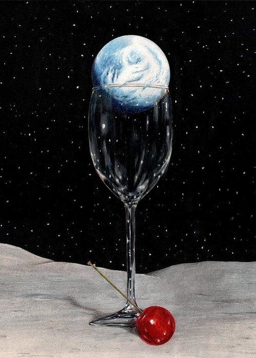 Moon Earth Space Cocktail Glass Art Bruce Lennon Art Greeting Card featuring the painting Lunar Cocktail by Bruce Lennon