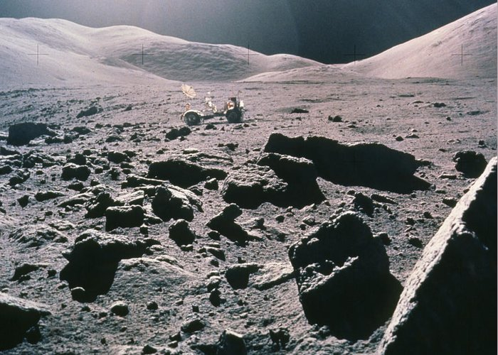 Apollo 17 Greeting Card featuring the photograph Lunar Rover At Rim Of Camelot Crater by NASA / Science Source
