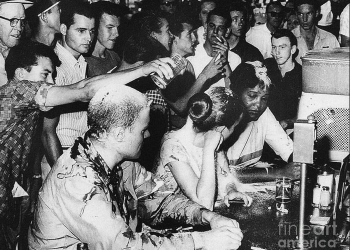 1963 Greeting Card featuring the photograph Lunch Counter Sit-in, 1963 by Granger