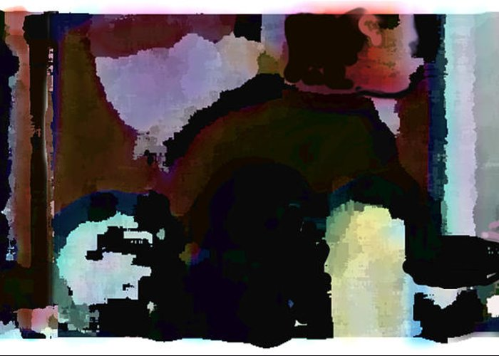 Abstract Expressionism Greeting Card featuring the painting Lunch counter by Steve Karol