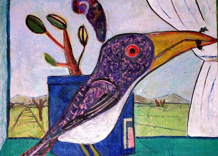 Bird Greeting Card featuring the mixed media Lunch by Dave Kwinter